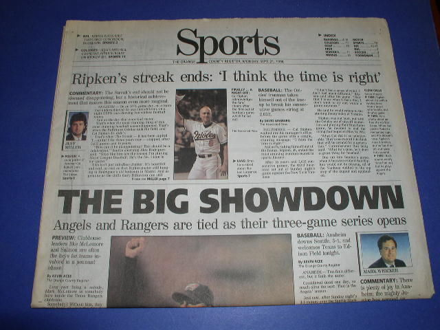 Primary image for ANAHEIM ANGELS SPORTS PAGE OC REGISTER 9-21-1998