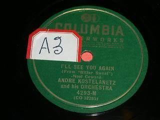 Primary image for Andre Kostelanetz 78 RPM Record I'll See You Again