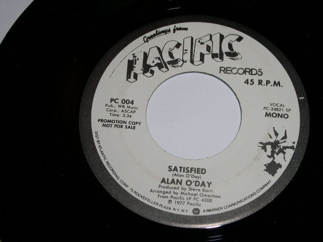 Primary image for Alan O'Day Satisfied 45 Rpm Record Promotional