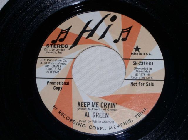 Primary image for AL GREEN KEEP ME CRYIN SOUL 45 RPM 1976 PROMOTIONAL