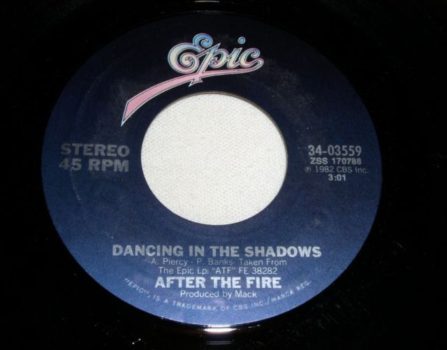 Primary image for AFTER THE FIRE DANCING IN THE SHADOWS 45 RPM RECORD VINTAGE 1982