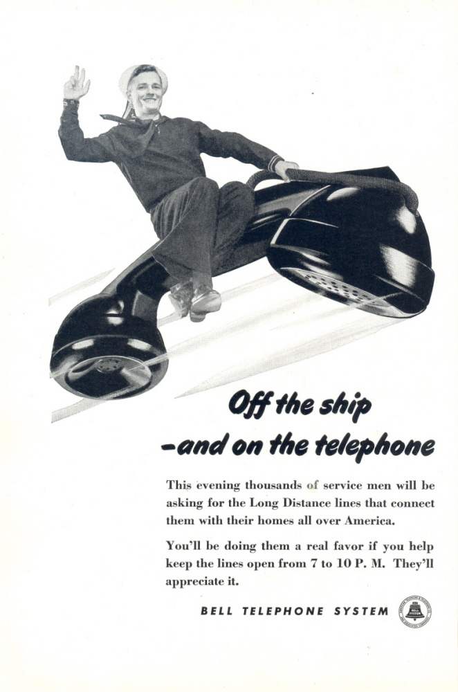 1945 Bell Telephone Navy Sailor Flying on Telephone print ad