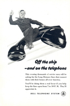 1945 Bell Telephone Navy Sailor Flying on Telephone print ad - $10.00