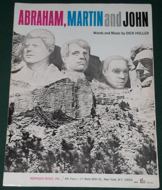 Primary image for ABRAHAM MARTIN AND JOHN VINTAGE 1968 SHEET MUSIC