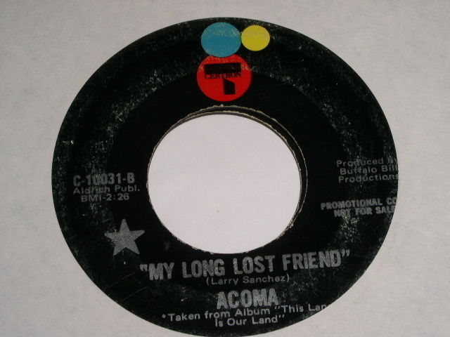 Primary image for Acoma My Long Lost Friend Vintage 45 Rpm Record 1970 Certron Promotional