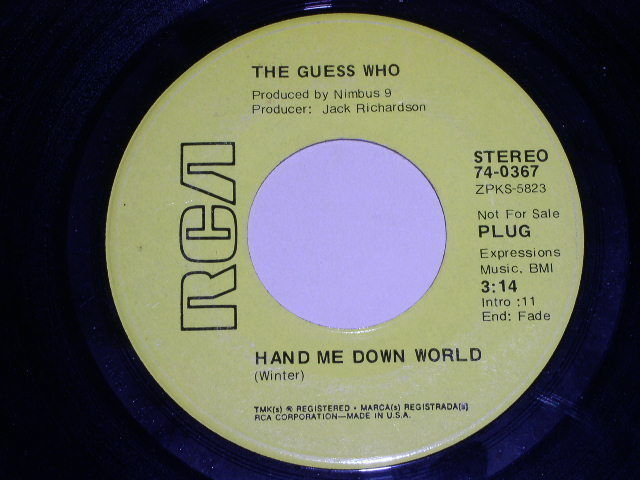 Primary image for THE GUESS WHO HAND ME DOWN WORLD PROMOTIONAL 45 RPM PHONO RECORD VINTAGE