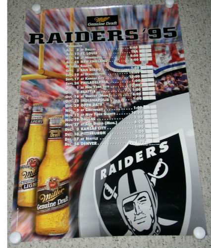 Primary image for Raiders Football Poster Vintage 1995 Roster