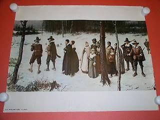 Primary image for G. H. Boughton Pilgrims Lithograph Print Vintage