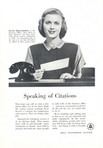 1948 Bell Telephone Speaking of Citations operator print ad - $10.00