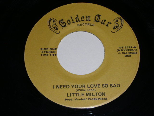 Primary image for Little Milton I Need Your Love So Bad 45 Rpm Record Vintage Golden Car Label