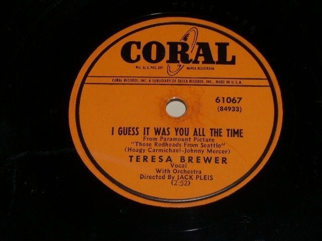 Primary image for Teresa Brewer I Guess It Was You 78 rpm record vintage Coral Records
