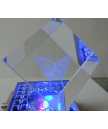 Butterfly Etched Glass Cube #2 (watch it change colors on a lighted base) - $4.50