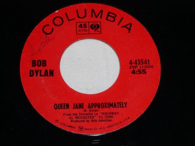 Primary image for BOB DYLAN ONE OF US MUST KNOW 45 RPM RECORD QUEEN JANE VINTAGE