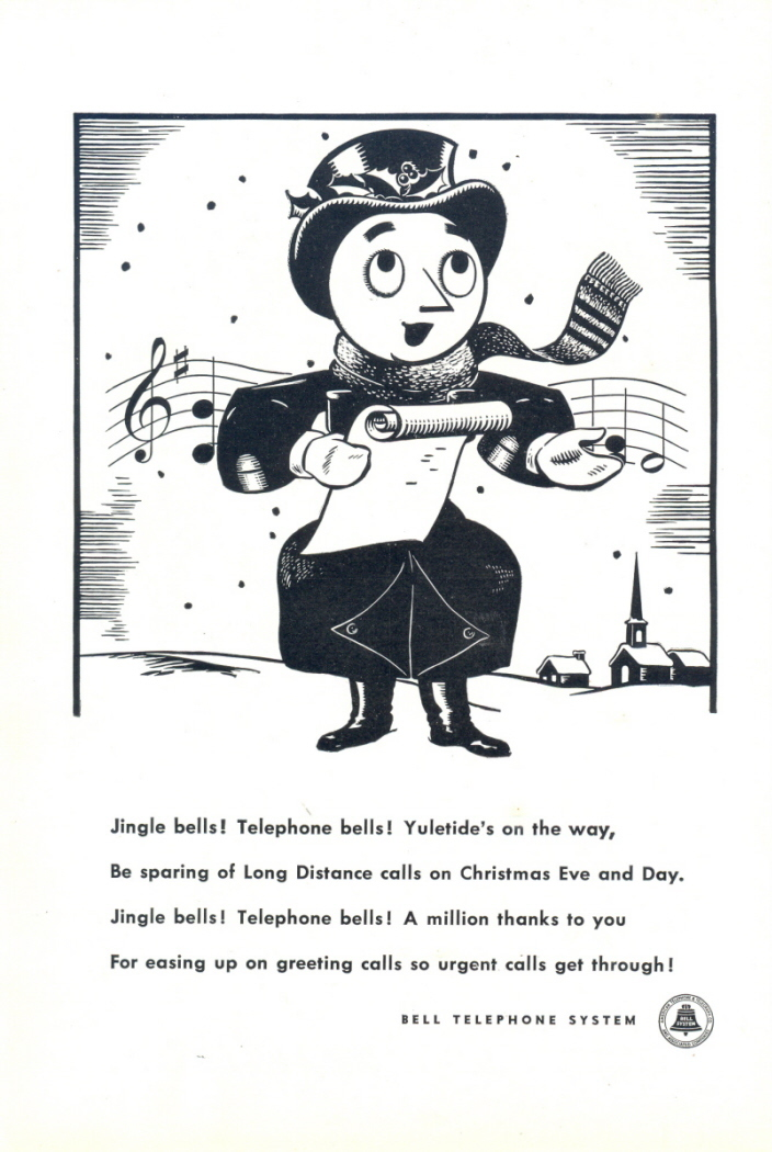 1946 Bell Telephone Figure Singing Christmas Choir print ad