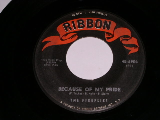 Primary image for The Fireflies Because Of My Pride 45 RPM Record Ribbon Label