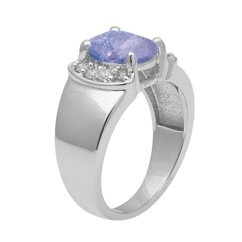 Tanzanite & White Topaz 925 Sterling Silver Ring Shine Jewelry Size-8.5 SHRI1402