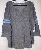 NEW WOMENS PLUS SIZE 4X GRAY GRIDITRON  NOTCH NECK TOP WITH BLUE STRIPED... - $19.34