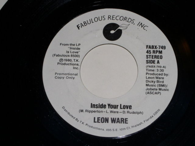Primary image for Leon Ware Inside Your Love Promo 45 Rpm Record Vintage Fabulous Records Label