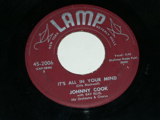 Primary image for Johnny Cook It's All In Your Mind 45 Rpm Phono Record Vintage 1957 Lamp Label