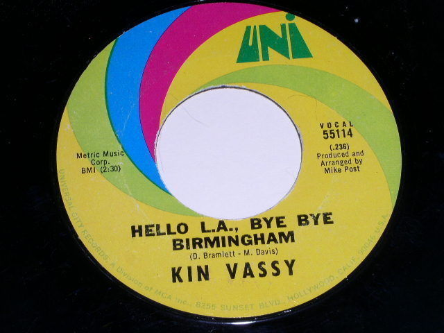Primary image for Kin Vassy Hello L.A. Bye Bye Birmingham 45 Rpm Phonograph Record 1969 Uni Label