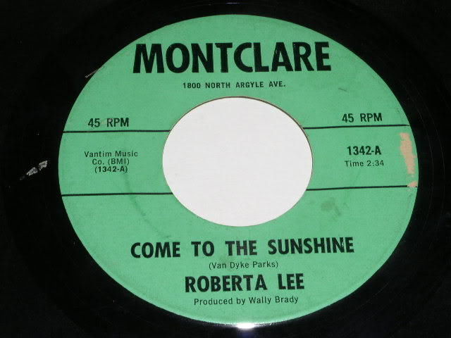 Primary image for Roberta Lee Come To The Sunshine 45 Rpm Record Vintage Montclare Label