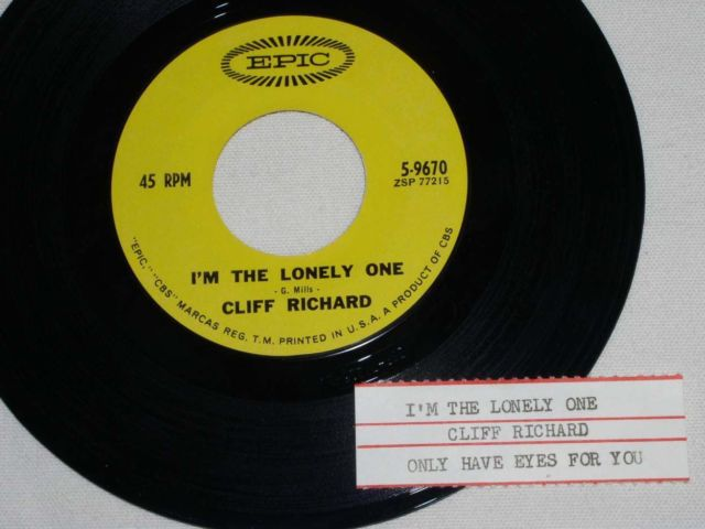 Primary image for CLIFF RICHARD I'M THE ONLY ONE 45 RPM RECORD VINTAGE W/JUKE BOX STRIP