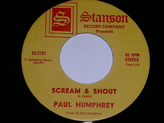Primary image for Paul Humphrey Scream Shout 45 Rpm Phonograph Record Stanson Label