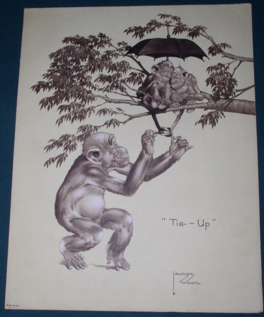 Primary image for LAWSON WOOD CHIMPANZEE ARTWORK 1935 ADVERTISING FLYER TIE UP