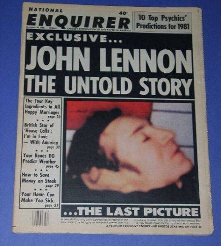 Primary image for JOHN LENNON NATIONAL ENQUIRER MAGAZINE 1980 COFFIN PIC