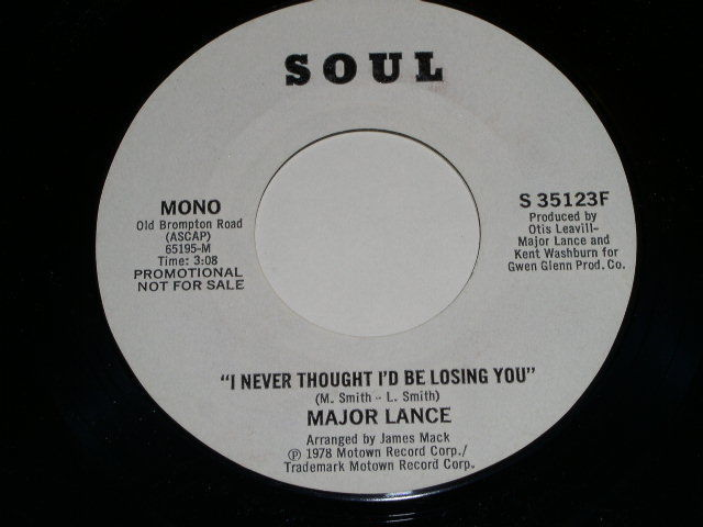 Primary image for Major Lance I Never Thought I'd Be Losing You Promo 45 Rpm Record Soul Label