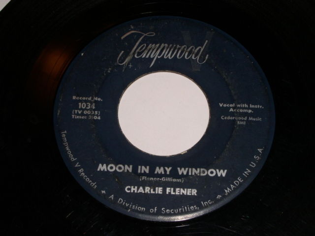 Primary image for Charlie Flener Moon In My Window 45 Rpm Record Vintage Tempwood Label