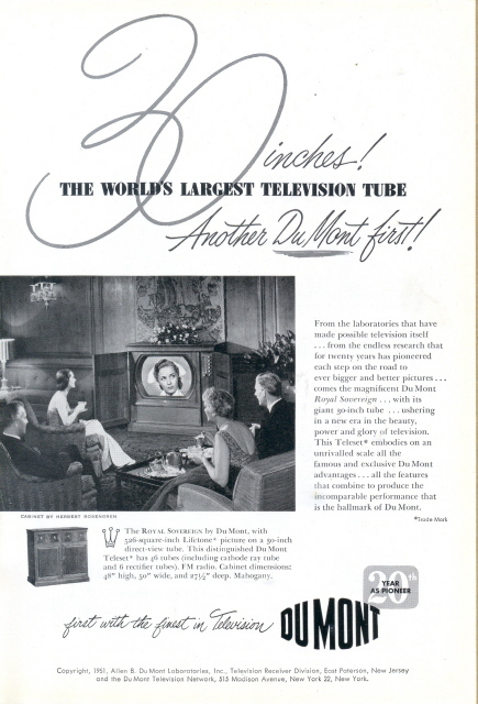 1951 Dumont World Largest TV Television Tube print ad