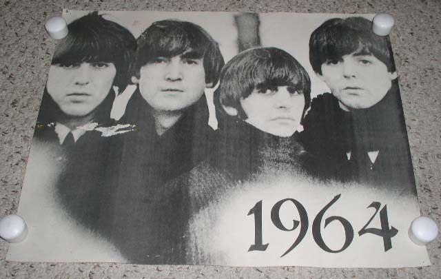Beatles Poster Vintage Black White Origin Unknown