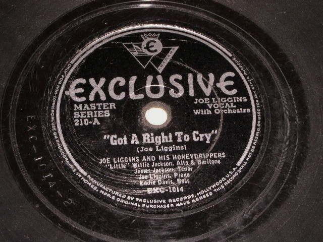 Primary image for Joe Liggins Honeydrippers Got A Right To Cry 78 Rpm Record Vintage