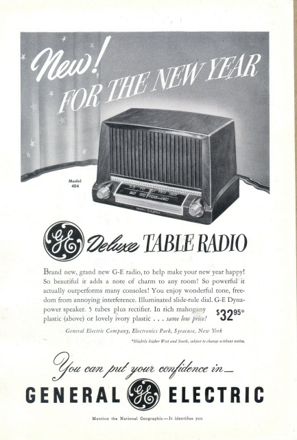 1951 GE Model 404 Deluxe Table Radio print ad