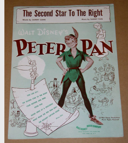 Primary image for Peter Pan Second Star To The Right Sheet Music 1951 Walt Disney