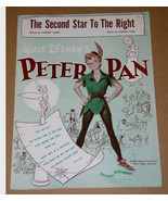 Peter Pan Second Star To The Right Sheet Music 1951 Walt Disney - $84.99