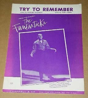 Primary image for Harry Belafonte Try To Remember Sheet Music Vintage 1960 The Fantasticks