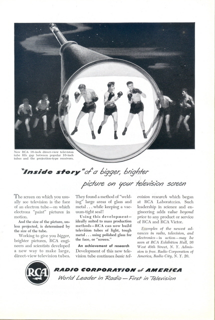 1951 RCA 16 inch direct view TV Television tube print ad