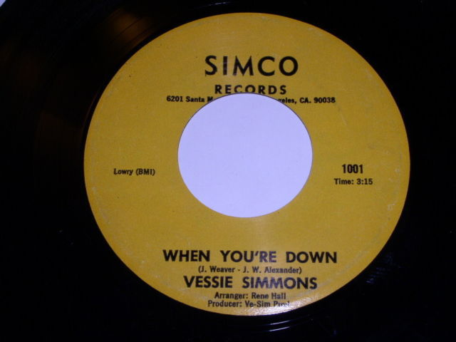 Primary image for Vessie Simmons When You're Down 45 Rpm Record Vintage Simco Label