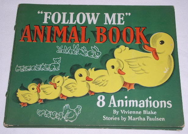 ANIMATED CHILDREN'S ANIMAL FOLLOW ME BOOK VINTAGE 1945