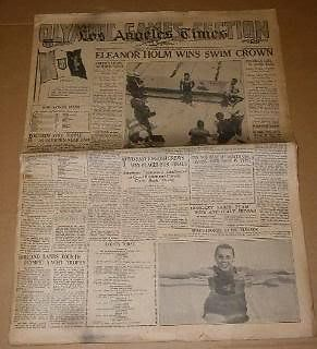 Primary image for Eleanor Holm Olympics 1932 Vintage Newspaper LA Times August 12