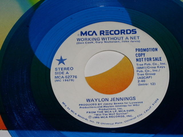 Primary image for Waylon Jennings Working Without A New 45 Rpm Record Blue Vinyl Promotional