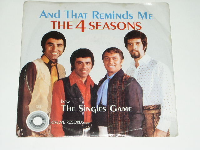 Primary image for 4 Seasons And That Reminds Me 45 Rpm Phonograph Record Vintage Pic Sleeve