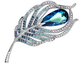 Merdia Brooches Pin for Women Bridal Glittery Crystal Feather Brooch Blue - $73.08