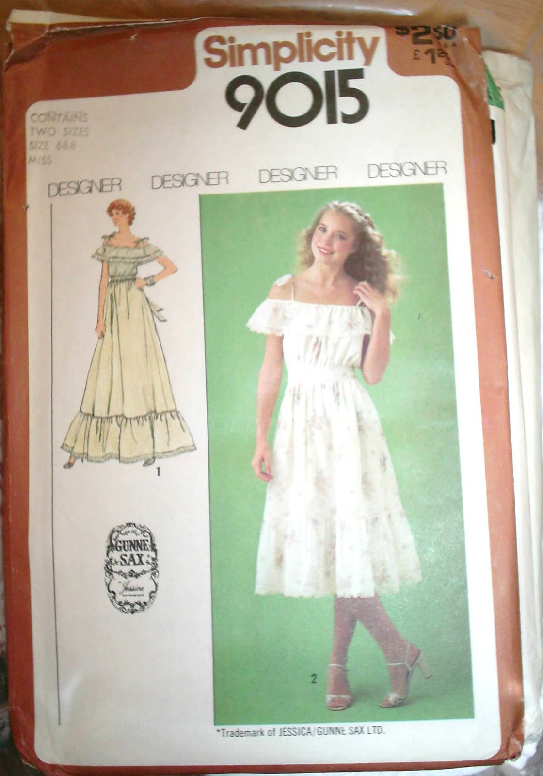 Primary image for Vintage Gunne Sax Jessica McClintock Ruffled Dress Pattern 6 8 Simplicity 9015