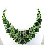 Table-Top Faceted Green Tears of Quartz + Peridot Sterling Silver Neckla... - $377.28