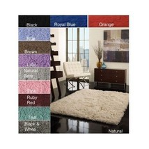 Wool Shag Area Rug Hand Woven Throw 5' x 7' Carpet Home Living Room Natu... - $257.39