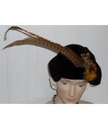Vtg 40s WWII Hat Black Velour Vintage Half  Hat Pheasant Feathers with S... - $85.00