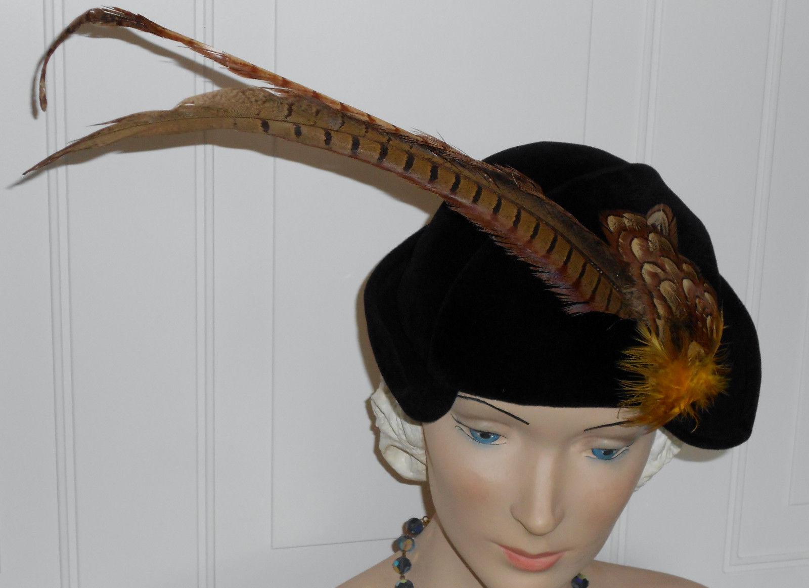 Vtg 40s WWII Hat Black Velour Vintage Half  Hat Pheasant Feathers with Spray EUC